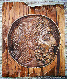 Philip II of Macedon - wood carving work of the woodcarving guru Vinko Bogdanoski