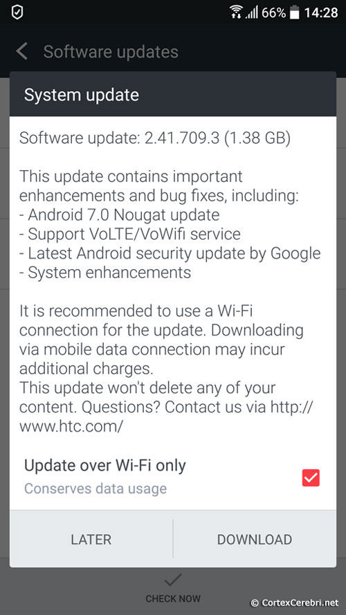 System update - Software update: 2.41.709.3 (1.38 GB) - HTC 10 Nougat Android 7 Update Release in Europe