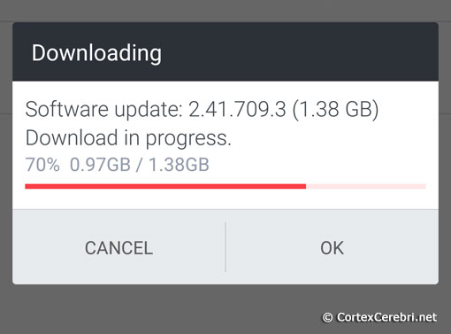 Downloading... Software update: 2.41.709.3 (1.38 GB) - Download in progress - HTC 10 Nougat Android 7 Update Release in Europe
